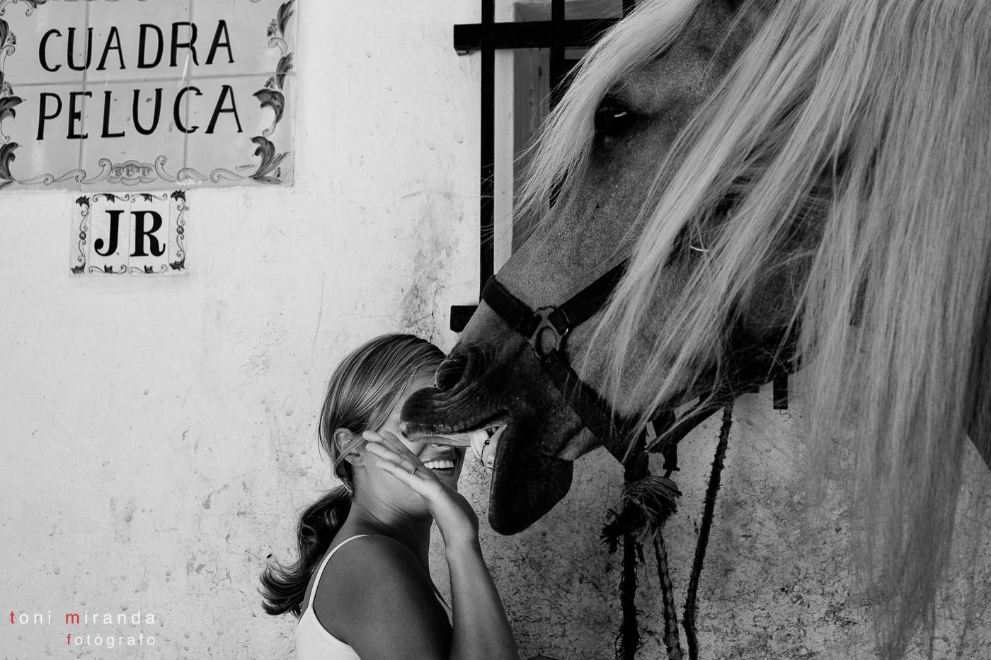 cuadra peluca novia con caballo