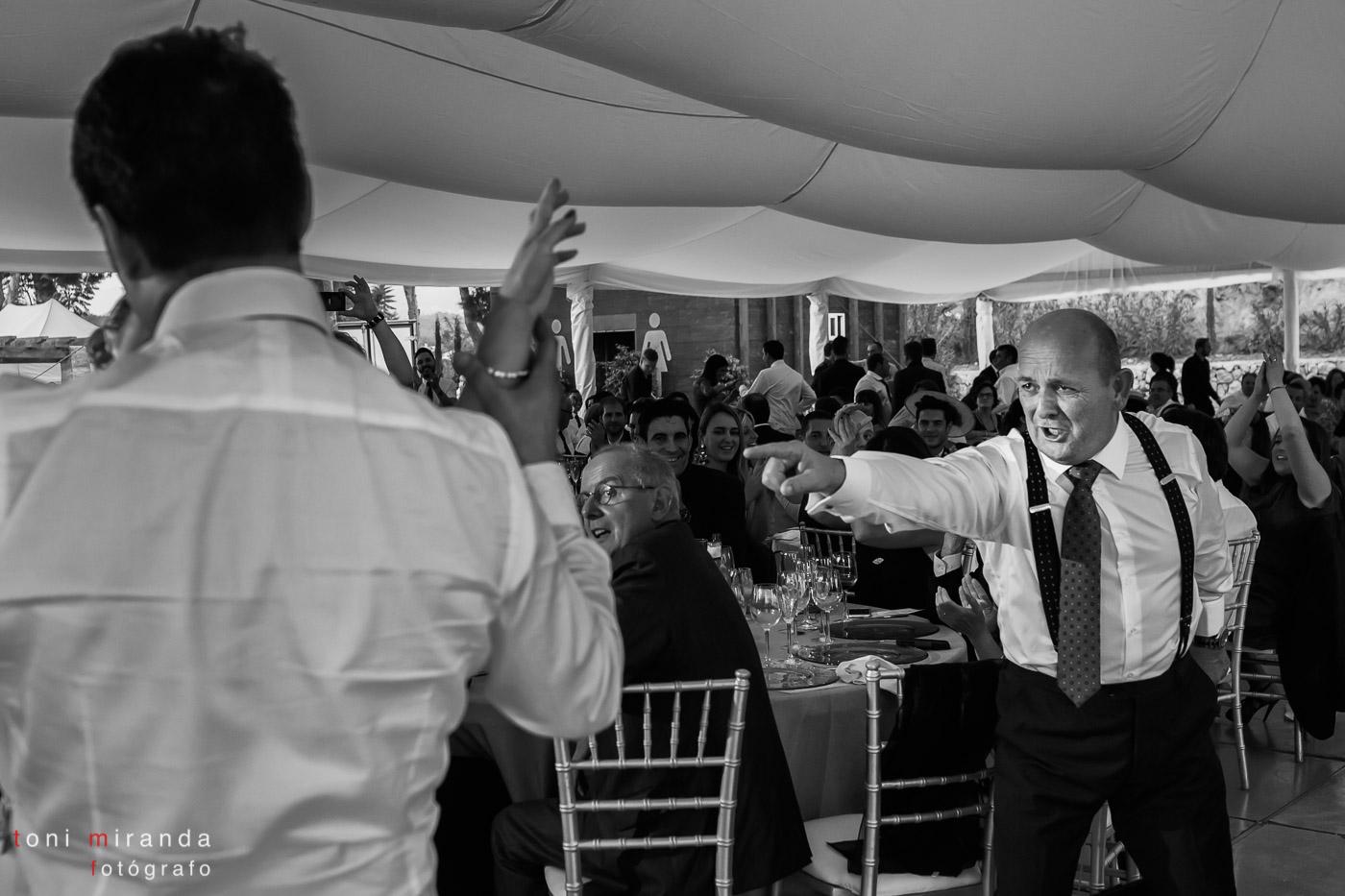 Padrino en comida de boda en finca Montemolar de Altea